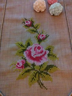 This Pin was discovered by Gül Hand Embroidery Flowers, Ribbon Embroidery, Embroidery Art, Cross Stitch Embroidery, Cross Stitch Books, Cross Stitch Flowers, Cross Stitch Designs, Cross Stitch Patterns, Cross Stitch Cushion