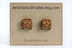 VW Bus Earrings alder laser cut wood earrings by LemonWoodMarket