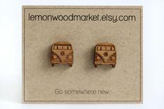 VW Bus Earrings alder laser cut wood earrings by LemonWoodMarket