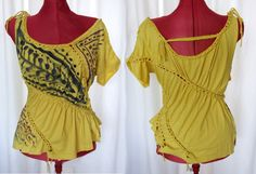 Mustard tribal top - Asymmetrical yellow hand painted baggy off shoulder festival party shirt - braided - hippie bohemian - S/M - US 6/8/10. $56.00, via Etsy.