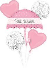 Light Pink Best Wishes Umbrella Balloon Bouquet