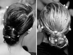 Chanel pearl hair clips