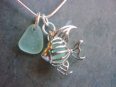 Sea Glass Locket Filigree Fish