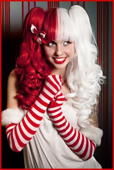 SPLIT RED   WHITE ✯ (( NEW )) Alexa Poletti looks sweeter than a candy cane  modeling our Split Red   White wig. Use this wig for. Alexa - Split Red and  ... e966b7f96743