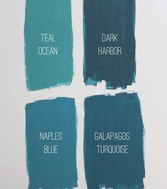 Favorite Benjamin Moore Teals: Teal Ocean, Dark Harbor, Naples Blue and Galapagos Turquoise