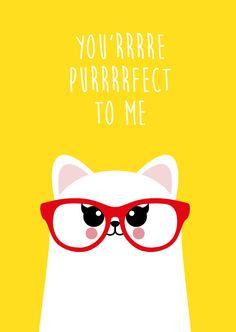 Ansichtkaart you'rrrre purrrrfect #StudioInktvis #kat #poes #perfect #postcard #ansichtkaart