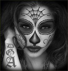 day of the dead sugar skull girl tattoo original oil by. Black Bedroom Furniture Sets. Home Design Ideas