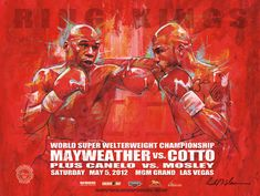 A brand new official and authentic fight poster of Floyd Money Mayweather vs Saul 'Canelo'. This poster was only available at the fight and is a rare collectors item. It's a very vibrant poster and the perfect conversation piece. Plus Canelo vs Mosley on the undercard. Size: 18 x 24 InchesHigh quality poster with a UV glossy finish.Condition: NEWShipped in a plastic sleeve and heavy duty tube. ABOUT THE ARTIST: Richard T. Slone is the premier boxing artist in the world and has gained the attenti Mgm Grand Las Vegas, World Boxing, Fighting Poses, Fight Night, Beautiful Paintings, Art World, Vibrant, Fine Art, Conversation