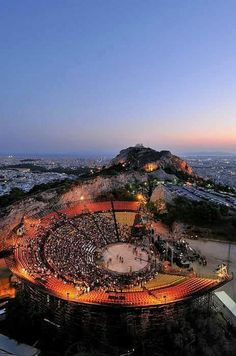 The Lycabettus Hill Theater in Athens, Greece Mykonos Greece, Crete Greece, Athens Greece, Attica Athens, My Athens, Places Around The World, Around The Worlds, Greece Islands, Ancient Greece