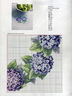 Cross stitch pattern. Flower wreath. Hydrangea.