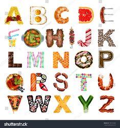 Food Alphabet Illustration Isolated On White Stock Illustration 780193483 Cute Fonts Alphabet, Food Alphabet, Abc Font, Typography Alphabet, Alphabet Art, Letter Art, Letters, Lettering Tutorial, Lettering Design