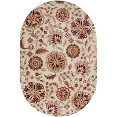 Hand-tufted in wool, this rug features vibrant colors of ivory, red, brown, black, sage, gold, pale blue, rust, green, beige and cream and a plush pile. This rug will really tie your room together.