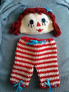 Raggedy Ann inspired crochet baby set