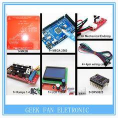 Reprap Ramps 1.4 +Mega 2560 + Heatbed mk2b+ 12864 LCD Controller +DRV8825+ Mechanical Endstop+ Cables 3D Printer Controller Kit