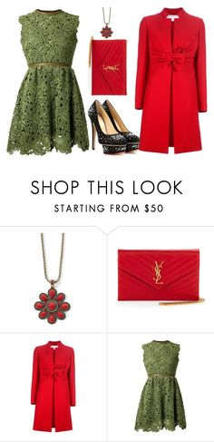 """""""Green and red"""" by fashionrushs ❤ liked on Polyvore featuring MNG by Mango, Yves Saint Laurent, Valentino and Charlotte Olympia"""