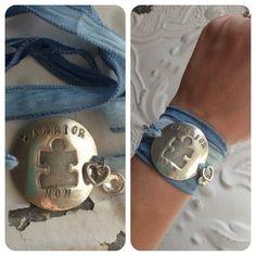Hand stamped Warrior mom autism puzzle piece bracelet