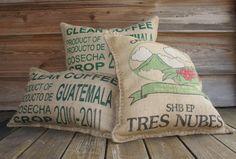 3 Repurposed Burlap Coffee Bag Pillows