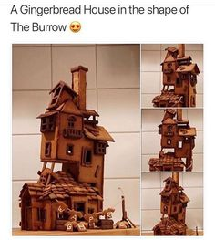 """A Gingerbread House in the shape of The Burrow"" Harry Potter Universal, Harry Potter Fandom, Harry Potter Memes, Fandoms, Hogwarts, Anniversaire Harry Potter, No Muggles, Yer A Wizard Harry, Albus Dumbledore"