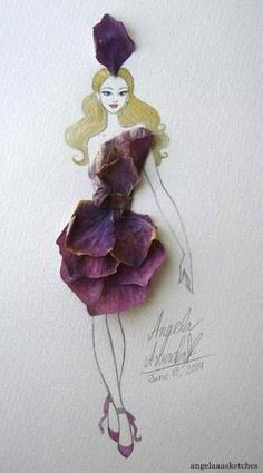 Flower Fashion 2 by angelaaasketches on DeviantArt Arte Fashion, Floral Fashion, Fashion Design, Paper Flower Art, Unique Drawings, Flower Quotes, Amazing Flowers, Real Flowers, Flower Petals