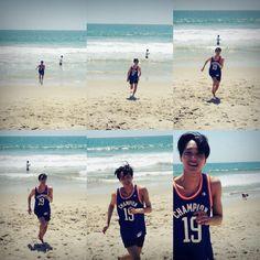 "Kai - 150608 Choreographer Shim Jaewon's twitter update: ""쫑카 미쿡 시절 #탐라_김종인_귀여움_배틀"" Translation: ""Jjongka's America look #Timeline_KimJongin_Cuteness_Battle"" Credit: Famous_Jae."