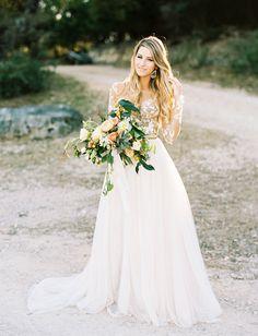 Hayley Paige Wedding Dress. Whimsical rustic wedding bride.