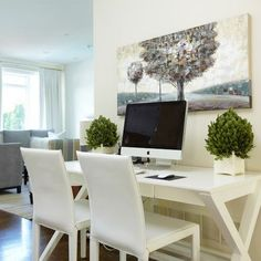 Contemporary White Home Office Computer Desk Design - chairs can be used as extra seating in living area Home Office Computer Desk, Home Office Space, Top Computer, Computer Nook, Work Desk, Bedroom Office, White Desk Office, Small Office, Office Chairs