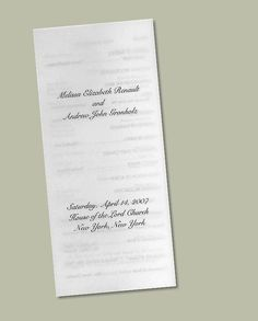 Translucent Tri-Fold Wedding Program