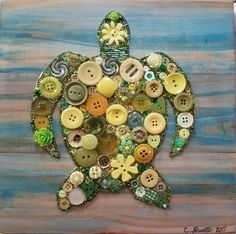 - Larger Turtle in Buttons and Beads with Acrylic Paint Background on Recycled Wood. Sea Turtle Decor, Sea Turtle Gifts, Sea Crafts, Diy And Crafts, Arts And Crafts, July Crafts, Button Crafts For Kids, Turtle Crafts, Turtle Birthday