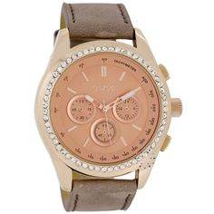 OOZOO Τimepieces Crystal Rose Gold Brown Leather Strap
