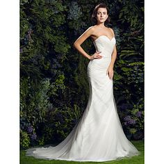 Slim A-line Sweetheart Court Train Tulle Wedding Dress (1828038) – USD $ 249.99