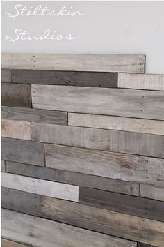 Stiltskin Studios: Pallet Wall Amy Howard Liming wax on some and a diluted mix of Bauhaus Buff, custom mixed Greyson, Remis Gray Toscana Paint and Pompeii Grey Toscana Paint on others