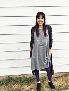 3 pieces of LuLaRoe makes for a perfect fall outfit.  Carly dress + Sarah cardigan + leggings