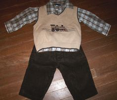 Baby Boy Size 12M 3pc. Set: Shirt, Vest, Corduroy Pants Brown w/ Train design #GreatGuy #DressyEveryday