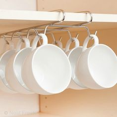 Maximise the space with this Cup Hanger.Cup hanger fits over standard cup hooks. Fits over a shelf of no more than thick. Kitchen Cupboard Storage, Kitchen Cupboards, Kitchen Organization, Kitchen Cutlery, Kitchen Rack, Home Design Decor, House Design, Interior Design, Home Decor