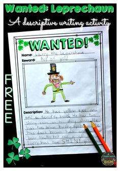 FREE St. Patrick's Day printables for your classroom! Have fun with this descriptive writing activity for your classroom.