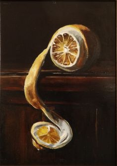 Lemon Peel Oil on board by E. Hyatt cm For sale Original Art, Lemon, Paintings, Oil, Board, Painting, Draw, Sign, Portrait