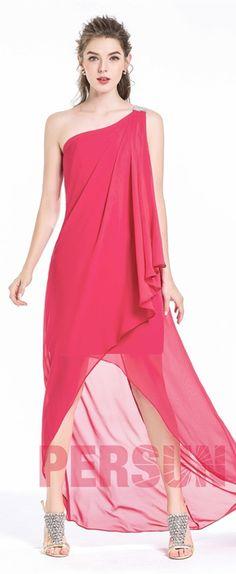 b38bbfe55367e 78,59 € Fluide robe de soirée rose courte avant longue derrière col  asymétrique