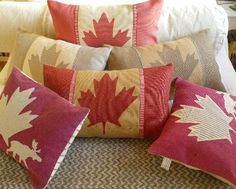 Canadian flag pillows <3. I want to make one!!! Link isn't to directions, but the idea is sparked in my head...