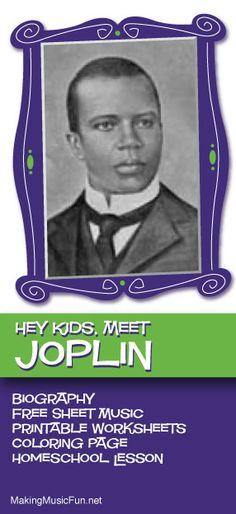 Hey Kids, Meet Scott Joplin | Composer Biography and Music Lessons Resources - http://makingmusicfun.net/htm/f_mmf_music_library/hey-kids-meet-scott-joplin.htm