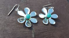 Daisy Earrings, Turquoise Fused Glass Silver Plated Gift for Her, Unique Jewlery, Dangle Earrings for Girlfriend or Wife
