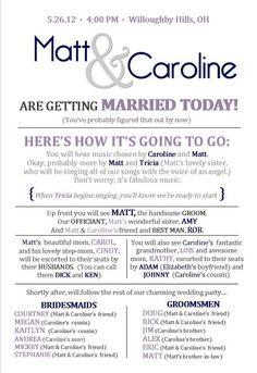 Wedding Program idea