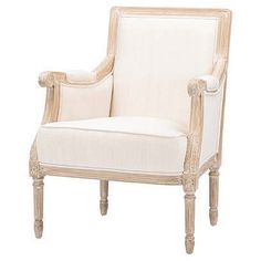 Chavanon Wood & Light Beige Linen Traditional French Accent Chair By Baxton Studio Armchair, Affordable Chair, French Chairs, Buy Chair, Accent Chairs, Chair, Country Furniture, French Country Living Room, Furniture