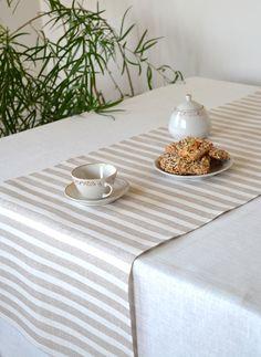 Striped Linen Table Runner Organic Natural Linen Runner Gray Linen With White, Eco Friendly  Linen Table Runner by LinenLifeIdeas on Etsy https://www.etsy.com/listing/152723425/striped-linen-table-runner-organic