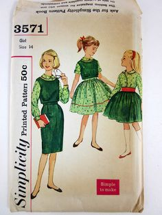 Girls Size 14 Top, Blouse and Two Skirts 60s Simplicity Pattern / Factory Folds. $10,00, via Etsy.