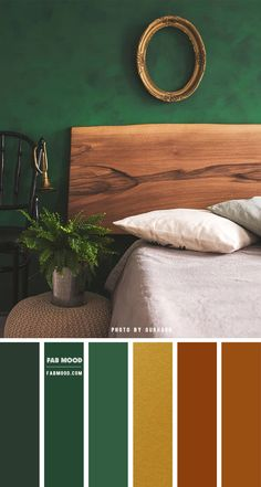 Earth Tone Combined With Nature { An Earthly Green } - - Bring inspiration from the earth tones outside into your bedroom. Not just earth tone colors though. Bring real nature into your bedroom. One of the best ways to. Green Rooms, Bedroom Green, Bedroom Color Schemes, Colour Schemes, Bedroom Color Palettes, Green Color Palettes, Colour Combinations Interior, Earth Colour Palette, Green Palette