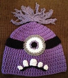 Evil purple Minion despicable me crochet hat beanie handmade Halloween costume & Bad Purple Minion Crochet Hat Despicable Me 2 movie Newborn 3-6 m ...