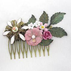 Hårkam med vintage blomster - Cloudcake unika hårpynt - Cloudcake