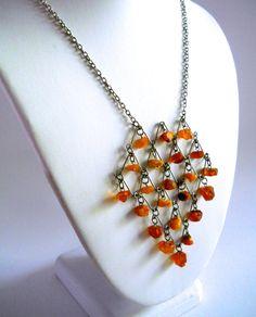 Raw Genuine Amber Bib Necklace Art Deco Dangles by RenaissanceFair