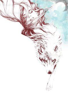 """Dreaming about wolves"" Susana Miranda ilustración"