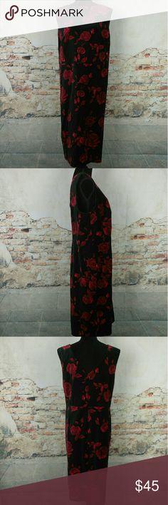 NWT Talbots Black Red Floral Velvet Dress Sz 24W NWT Talbots Black Red Floral Cotton Velvet Sleeveless Sheath Dress - size 24W Talbots Dresses
